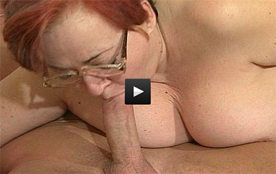 Strong blowjob on The Granny Sex